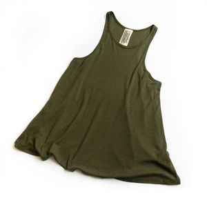 FREE PEOPLE • ARMY GREEN RACERBACK RIBBED TANK TOP
